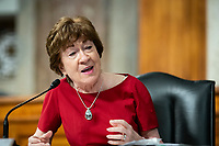 """United States Senator Susan Collins (Republican of Maine), speaks during a US Senate Health, Education, Labor and Pensions Committee hearing in Washington, D.C., U.S., on Tuesday, June 30, 2020. The U.S. government's top infectious disease specialist said he's """"quite concerned"""" about the spike in coronavirus cases in Florida, Texas, Arizona and California. Photographer: Al Drago/Bloomberg<br /> Credit: Al Drago / Pool via CNP /MediaPunch"""