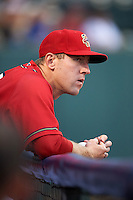 Harrisburg Senators Brian Jeroloman (3) in the dugout during a game against the New Hampshire Fisher Cats on July 21, 2015 at Metro Bank Park in Harrisburg, Pennsylvania.  New Hampshire defeated Harrisburg 7-1.  (Mike Janes/Four Seam Images)