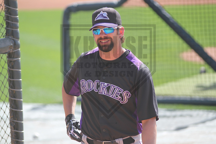SCOTTSDALE - March 2013: Todd Helton (17)  of the Colorado Rockies during a Spring Training workout on March 19, 2013 at Salt River Fields in Scottsdale, Arizona.  (Photo by Brad Krause). .