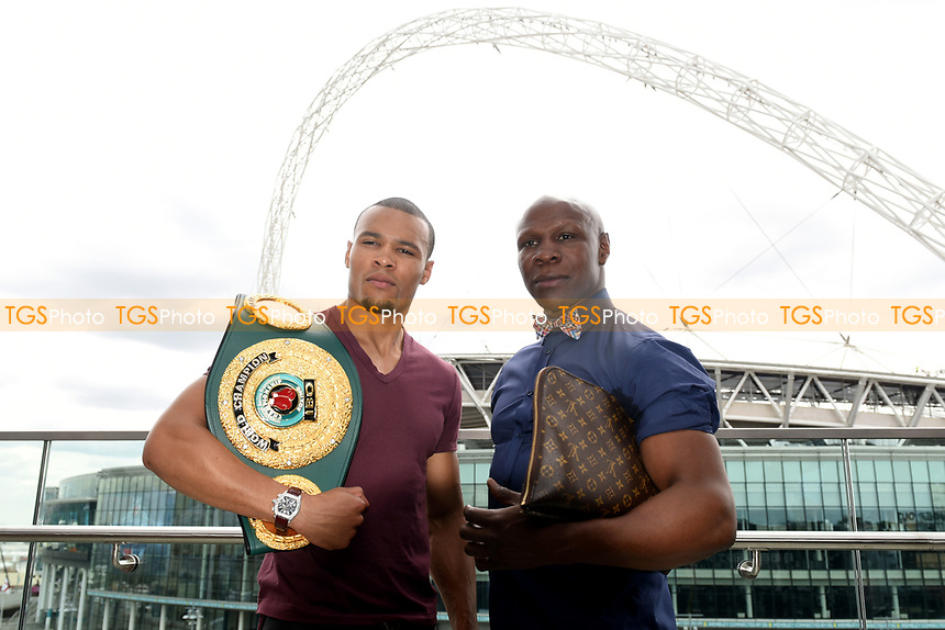 Chris Eubank Jnr (L) and father Chris Eubank during a Press Conference at the Sky Bar, Hilton Hotel on 13th July 2017