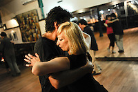 Uruguay Montevideo, Tango dancing at night at Joventango