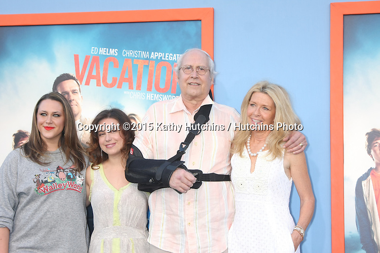 "LOS ANGELES - JUL 27:  Emily Chase, Caley Chase, Chevy Chase, Jayni Chase at the ""Vacation"" Premiere at the Village Theater on July 27, 2015 in Westwood, CA"