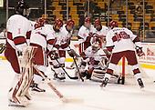 Sihak Lee (Harvard - 1), Phil Zielonka (Harvard - 72), Luke Esposito (Harvard - 9), Michael Floodstrand (Harvard - 44), Adam Fox (Harvard - 18), Tyler Moy (Harvard - 2), Ryan Donato (Harvard - 16), Merrick Madsen (Harvard - 31) - The Harvard University Crimson defeated the Northeastern University Huskies 4-3 in the opening game of the 2017 Beanpot on Monday, February 6, 2017, at TD Garden in Boston, Massachusetts.