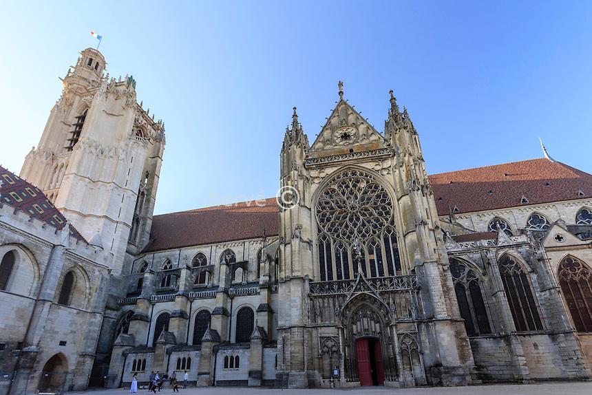 France, Yonne (89), Sens, cathédrale Saint-Etienne, la tour et le portail sud // France, Yonne, Sens, Saint Etienne Cathedral