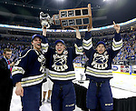 SIOUX FALLS, SD - MAY 15:  Clint Lewis #15 left, Logan O'Connor #19, and Ryan Schwalbe #23 from the Sioux Falls Stampede hoist the cup after their 4-2 win over the Muskegon Lumberjacks to win the 2015 Clark Cup at the Denny Sanford Premier Center Friday night.  (Photo by Dave Eggen/Inertia)