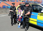 A young fan speaks to armed police during the FIFA World Cup Qualifying match at Hampden Park Stadium, Glasgow Picture date 10th June 2017. Picture credit should read: David Klein/Sportimage