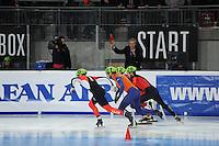 SCHAATSEN: DORDRECHT: Sportboulevard, Korean Air ISU World Cup Finale, 12-02-2012, Start Final B 500m Men, Guillaume Bastille CAN (6), Niels Kerstholt NED (61), Paul Herrmann GER (28), ©foto: Martin de Jong
