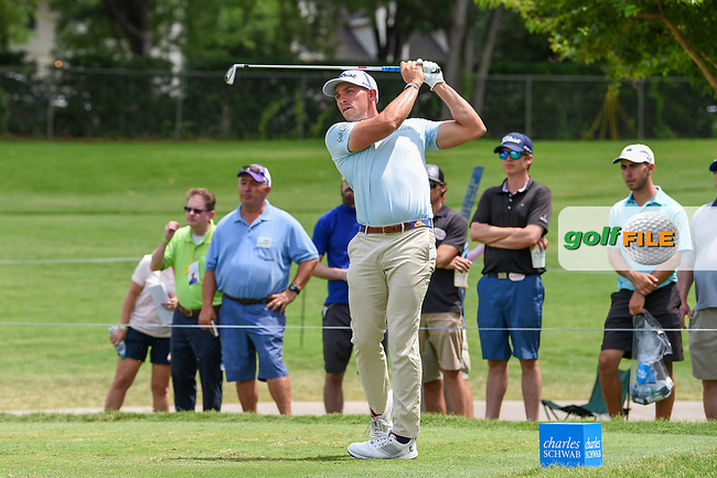 Scott Stallings (USA) watches his tee shot on 7 during round 1 of the 2019 Charles Schwab Challenge, Colonial Country Club, Ft. Worth, Texas,  USA. 5/23/2019.<br /> Picture: Golffile   Ken Murray<br /> <br /> All photo usage must carry mandatory copyright credit (© Golffile   Ken Murray)