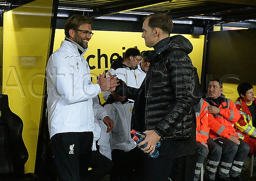 07.04.2016. Dortmund, Germany. Europa League quarterfinal. Borussia Dortmund versus Liverpool FC at the Signal Iduna Park Dortmund.  Coach / Trainer Juergen Klopp (FC Liverpool) and Trainer Thomas Tuchel (Borussia Dortmund)
