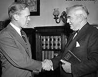 Michigan Senator Arthur Vandenberg welcomes new Congressman Gerald R. Ford Jr., to Washington DC. 1949.