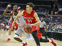 Washington, DC - March 10, 2018: Davidson Wildcats guard Kellan Grady (31) dribbles the ball past St. Bonaventure Bonnies guard Matt Mobley (2) during the Atlantic 10 semi final game between St. Bonaventure and Davidson at  Capital One Arena in Washington, DC.   (Photo by Elliott Brown/Media Images International)