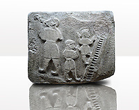 Picture & image of a Neo-Hittite orthostat showing a Conjurer & acrobats from Alacahöyük, Alaca Çorum Province, Turkey. Museum of Anatolian Civilisations, Ankara.  The conjurer on the left has long hair and is swallowing a dagger whilst the acrobats go up the stairs without holding on. All the figures are wearing horned headress and large looped earings. The acrobats are thought to be foreigners which is why they are smaller than the conjurer. Old Bronze age Chalcolithic Period. 3