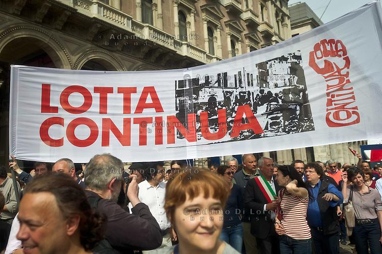 Lotta Continua banner with Pisapia major of Milan during 25 April demonstration italian liberation of Nazi Fascism World War II thanks by partigiani, on April 25, 2014. Photo: Adamo Di Loreto/BuenaVista*photo