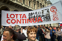 Lotta Continua banner with Pisapia major of Milan during 25 April demonstration italian liberation of Nazi Fascism World War II thanks by partigiani, on April 25, 2014. Photo: Adamo Di Loreto/BuenaVista*photo