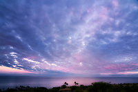 Sunset clouds and ocean off Kohala coast. Hawii, The big Island.