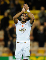 Ashley Williams of Swansea City applauds the fans during the Barclays Premier League match between Norwich City and Swansea City played at Carrow Road, Norwich on November 7th 2015