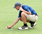 Andrew Wasinger with the Bellerive Country Club places his ball on the fifth green. He was among about 50 golfers competing on the first day of the Metropolitan Amateur Golf Association's 20th Junior Amateur Championship being held at the St. Clair Country Club in Belleville, IL on July 1, 2019. <br /> Tim Vizer/Special to STLhighschoolsports.com