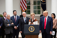 White House coronavirus response coordinator Dr. Deborah Birx, joined by United States President Donald J. Trump, United States Vice President Mike Pence, members of the Coronavirus Task Force, and Industry Executives, speaks during a news conference in the Rose Garden at the White House in Washington D.C., U.S., on Friday, March 13, 2020.  Trump announced that he will be declaring a national emergency in response to the Coronavirus.  Credit: Stefani Reynolds / CNP/AdMedia