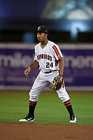 Aberdeen IronBirds second baseman Jean Carmona (24) during a NY-Penn League game against the Vermont Lake Monsters on August 19, 2019 at Leidos Field at Ripken Stadium in Aberdeen, Maryland.  Aberdeen defeated Vermont 6-2.  (Mike Janes/Four Seam Images)