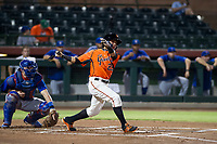 AZL Giants center fielder Ismael Munguia (29) follows through on his swing during Game Three of the Arizona League Championship Series against the AZL Cubs on September 7, 2017 at Scottsdale Stadium in Scottsdale, Arizona. AZL Cubs defeated the AZL Giants 13-3 to win the series two games to one. (Zachary Lucy/Four Seam Images)