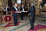 13.06.2012. King Juan Carlos I of Spain attens presentation of Credentials at the Royal Palace of Madrid with the Mr. Paulo Da Silva, Ambassador of the Republic of Guinea-Bissau. In the image King Juan Carlos I of Spain and Paulo Da Silva (Alterphotos/Marta Gonzalez)