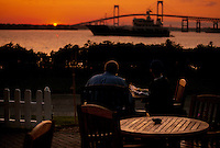 "Waterfront sunset dining at ""Pineapples"" restaurant and bar on Goat Island, Newport , RI.."