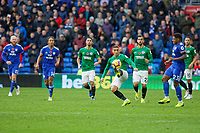 Anthony Knockaert of Brighton (C) in action during the Premier League match between Cardiff City and Brighton & Hove Albion at the Cardiff City Stadium, Cardiff, Wales, UK. Saturday 10 November 2018
