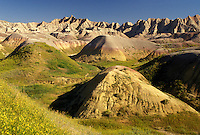 Badlands National Park, SD, South Dakota, Scenic view of Yellow Mounds in Badlands Nat'l Park in South Dakota.