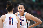 DALLAS, TX - MARCH 31: Napheesa Collier #24 of the Connecticut Huskies talks with a teammate during the 2017 Women's Final Four at American Airlines Center on March 31, 2017 in Dallas, Texas. (Photo by Justin Tafoya/NCAA Photos via Getty Images)