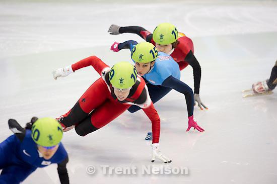 Trent Nelson  |  The Salt Lake Tribune.Ladies' 1500m, semifinal 1, Short Track Speed Skating, at the XXI Olympic Winter Games in Vancouver, Saturday, February 20, 2010. Lee Eun-Byul (140, korea), Tania Vicent (109, canada), Sun Linlin (111, china), Hiroko Sadakane (134, japan), Allison Baver (153, USA), Nina Evteeva (151), Marina Georgieva-Nikolova (103)