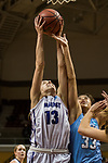 GRAND RAPIDS, MI - MARCH 18: Meredith Doswell (13) of Amherst College gets the rebound from Melissa Baptista (33) of Tufts University during the Division III Women's Basketball Championship held at Van Noord Arena on March 18, 2017 in Grand Rapids, Michigan. Amherst College defeated Tufts University 52-29 for the national title. (Photo by Brady Kenniston/NCAA Photos via Getty Images)