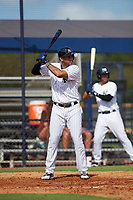 New York Yankees designated hitter Aaron Hicks (31) at bat while on a rehab assignment during an Instructional League game against the Baltimore Orioles September 23, 2017 at the Yankees Minor League Complex in Tampa, Florida.  (Mike Janes/Four Seam Images)