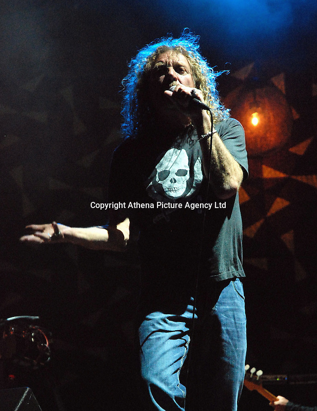 Pictured: Robert Plant performs on stage at the Rockwave Festival near Athens, Greece. STOCK PICTURE<br /> Re: Led Zeppelin singer Robert Plant and guitarist Jimmy Page are being sued in a copyright dispute brought by the American band Spirit, who claim the classic 1971 hit was 'lifted' from their instrumental track Taurus.<br /> A lawsuit has been filed on behalf of Spirit guitarist Randy Wolfe - known as Randy California - who drowned in 1997 having never taken legal action over the song.