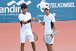 Kaito Uesugi &  Sho Shimabukuro (JPN), <br /> AUGUST 22, 2018 - Tennis : <br /> Men's Doubles Round of 16<br /> at Jakabaring Sport Center Tennis Court <br /> during the 2018 Jakarta Palembang Asian Games <br /> in Palembang, Indonesia. <br /> (Photo by Yohei Osada/AFLO SPORT)