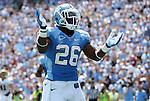 01 September 2012: UNC's Giovanni Bernard celebrates his first touchdown. The University of North Carolina Tar Heels played the Elon University Phoenix at Kenan Memorial Stadium in Chapel Hill, North Carolina in a 2012 NCAA Division I Football game.