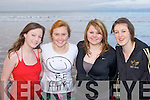Siobhain Talbot, Annie Sheehan, Chloe Tangney and Noreen Griffin braving the cold at the Fossa Rowing club annual New Year swim in Rossbeigh on Sunday.