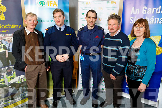 John Kearney (Cordal), Insp John Ryan, John O'Donnell (Tralee Fire Brigade), Thomas Laide (IFA) and Kathleen Hurley (Chairperson of Ballymac IFA) attending the Garda Meet and Greet National Rural Safety Forum in Cumann Iosaef in Tralee on Friday.