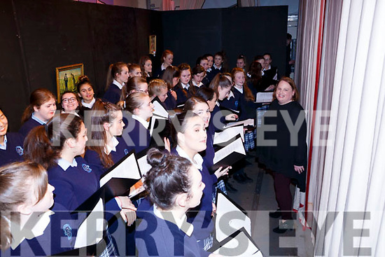 The choir ready for curtains in the Castleisland Presentation Schools Talent show last Thursday.