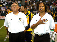 LA Galaxy's Paul Bravo and Cobi Jones. The Chicago Fire defeated the LA Galaxy 1-0 at Home Depot Center stadium in Carson, California on Thursday, August 21, 2008.