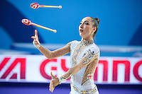 SALOME PAZHAVA of Georgia performs with clubs at 2016 European Championships at Holon, Israel on June 18, 2016.