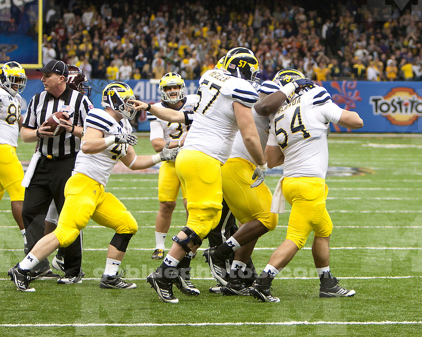 The University of Michigan football team beat Virginia Tech 23-20 in overtime to win the Sugar Bowl at the Mercedes-Benz Superdome in New Orleans, La., on January 3, 2012.<br />