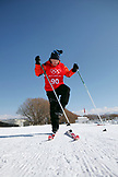 USA, Utah, Midway, Soldier Hollow, learning how to Biathlon, getting skiis on for the race