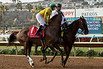 DEL MAR, CA  AUGUST 31: #1 Vasilika, ridden by Flavien Prat, in the post parade of the John C. Mabee Stakes (Grade ll) on August 31, 2019 at Del Mar Thoroughbred Club in Del Mar, CA. ( Photo by Casey Phillips/Eclipse Sportswire/CSM)