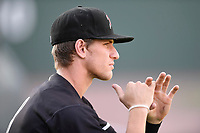 Second baseman Zach Remillard (8) of the Kannapolis Intimidators works on his batting stance prior to a game against the Greenville Drive on Friday, July 14, 2017, at Fluor Field at the West End in Greenville, South Carolina. Greenville won, 2-0. (Tom Priddy/Four Seam Images)