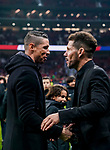 Former player of Atletico de Madrid Fernando Torres talks to head coach Diego Simeone as he attends a tribute in Gabriel Fernandez honor after the La Liga 2018-19 match between Atletico de Madrid and RCD Espanyol at Wanda Metropolitano on December 22 2018 in Madrid, Spain. Photo by Diego Souto / Power Sport Images