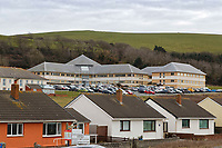Ceredigion County Council and Police station buildings in Aberaeron, Ceredigion, Wales, UK. Wednesday 21 March 2018