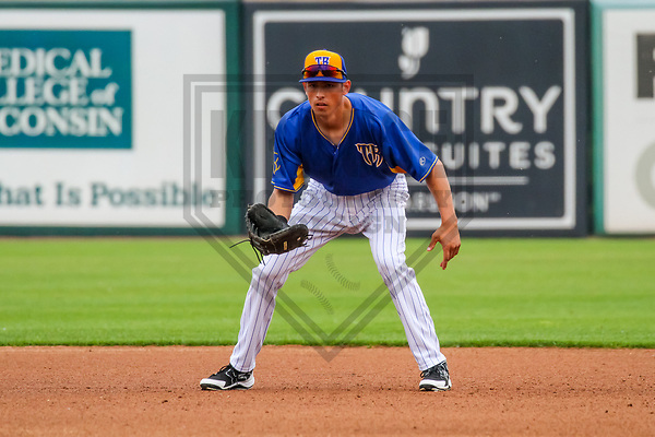 Wisconsin Timber Rattlers first baseman Ryan Aguilar (21) during a Midwest League game against the Kane County Cougars on June 11, 2017 at Fox Cities Stadium in Appleton, Wisconsin.  Kane County defeated Wisconsin 6-4. (Brad Krause/Krause Sports Photography)