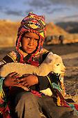Saqsayhuaman, near Cusco, Peru. Young boy in traditional dress holding a baby llama.