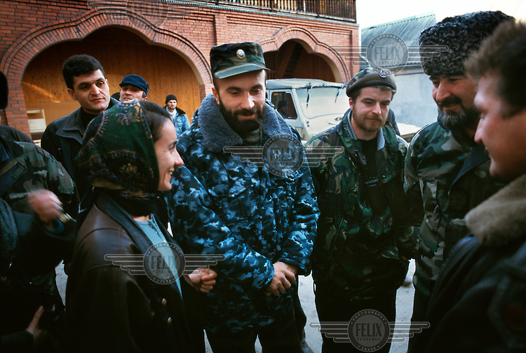 Shamil Basayev (centre). An experienced warlord who personally led the hostage-taking raid in the Russian town of Budyonnovsk in 1995, and later claimed responsibility for orchestrating the Moscow theatre hostage-taking in October 2002 and the Beslan school hostage-taking in 2004. In the intervening years, he was a member of the Chechen administration led by President Aslan Maskhadov. He is pictured during the 1997 election campaign, in which he finished second to Maskhadov.
