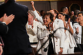 FEBRUARY 5, 2019 - WASHINGTON, DC: Representative Nita Lowey, D-NY, Alexandria Ocasio-Cortez, D-NY, and other House members during the State of the Union address at the Capitol in Washington, DC on February 5, 2019. <br /> Credit: Doug Mills / Pool, via CNP